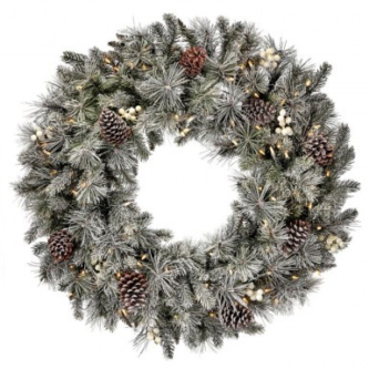 Lightly Flocked Wreath with Pinecones and White Berries