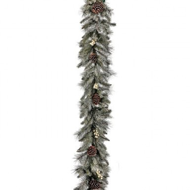 Lightly Flocked Garland with Pinecones and White Berries 6'