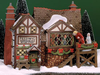 Retired Dept. 56 Fezziwig's Ballroom Limited Edition Retired 2000 Six Piece Gift Set with Building, Accessory, Trees and Snow 58470
