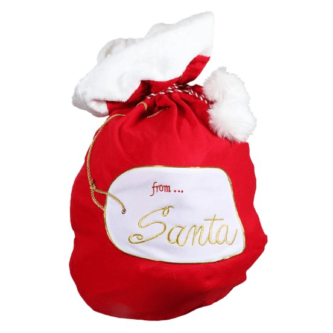 Red Bag with White Fur Trim and From Santa Label Medium Size