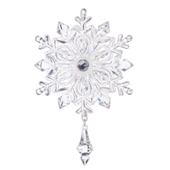 Reflective Snowflake Ornament with Teardrop Dangle
