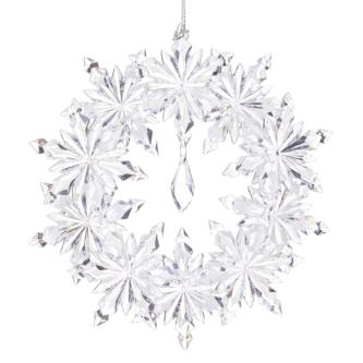 Snowflake Wreath Clear Ornament