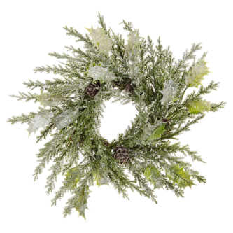 Mixed Pine with Holly Leaf Candle Ring