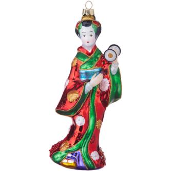 Geisha Girl in traditional Dress with glitter ornament