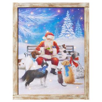 Dogs Visiting Santa Lit Wall Decor