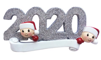Silver Glitter 2020 with Faces in Santa Hats Peeking Out