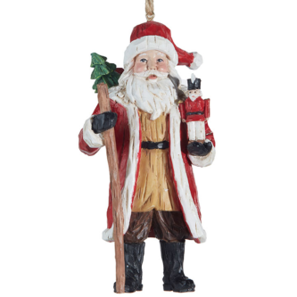 Carved Look Santa with Toy Soldier Ornament