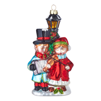 Carolers with Lightpost Glass Ornament