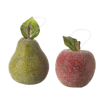 Beaded Pear and Apple Ornament