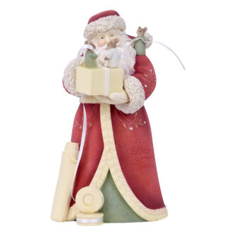 Santa Holding Package with Mice Tying Bow Heart of Christmas Figurine