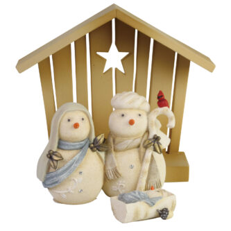 Snowman Nativity Three peice set Baby Jesus Mary and Joseph and a creche