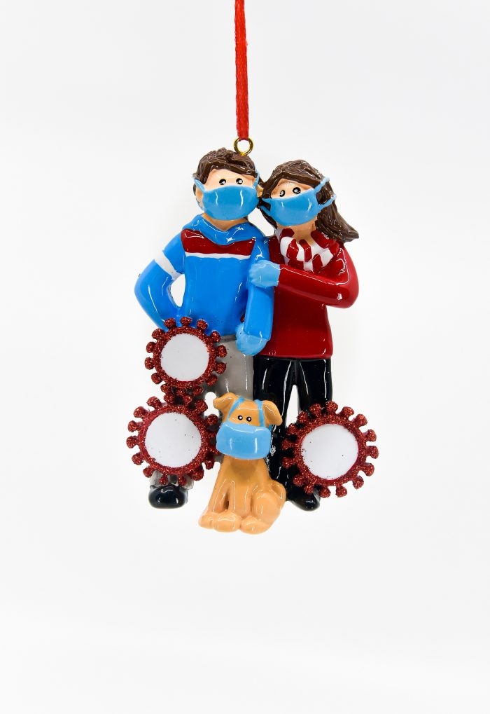 Couple and Puppy with Masks and Corona Circles Ornament Personalize