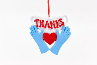 Blue Hands holding Heart Thanks with Red Heart Ornament Personalize