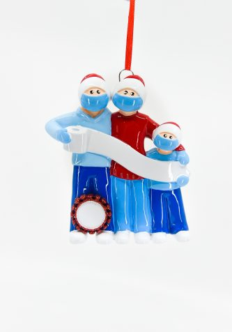 Pandemic Family with Toilet Paper Banner Ornament Personalize