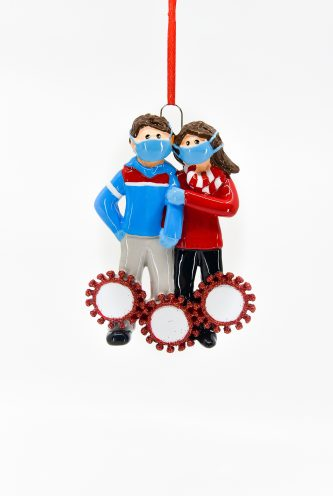 Masked Couple with Corona Circles Ornament Personalize
