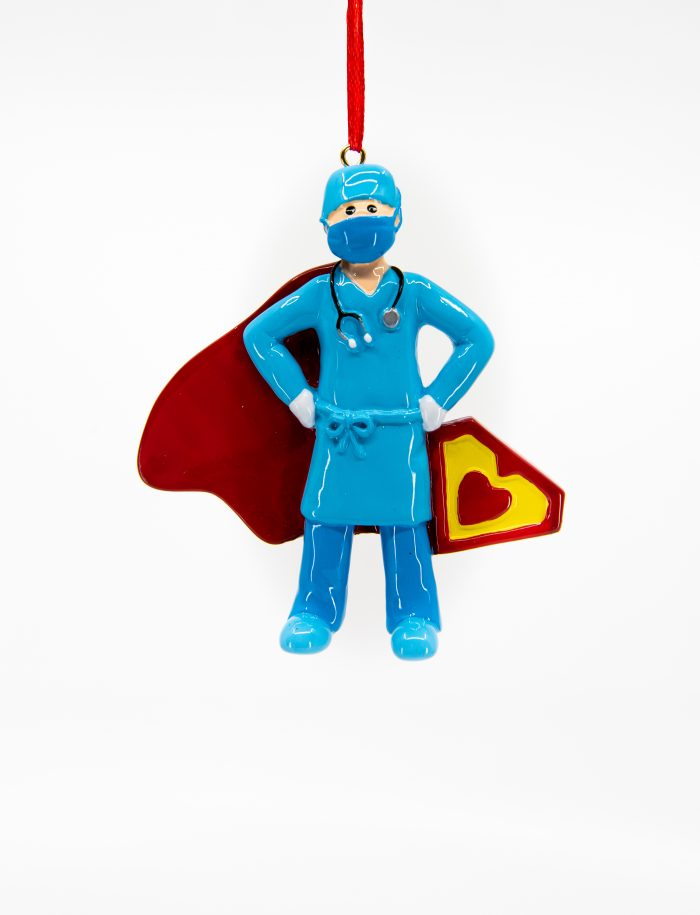 Super Hero Nurse Ornament with Cape and Heart personalized