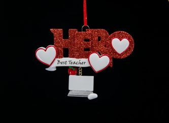 Red Glitter Hero with Best Teacher and Dangle Laptop Ornament Personalize