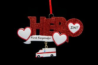 Hero Red Glitter EMT with First Responder Ornament Personalized