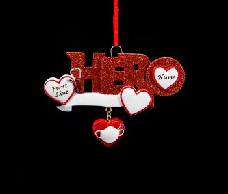 Hero Frontline Nurse with Hearts Red Glittered Ornament Personalize