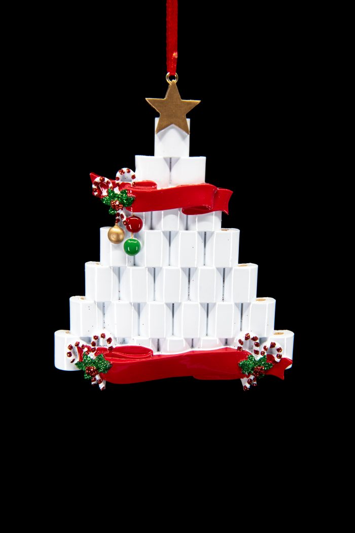 Holiday Tree made from TP with banners Ornament Personlize it