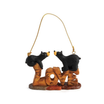 Black Bears on the word love ready to kiss ornament