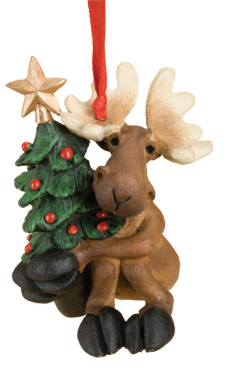 Moose Holding Christmas Tree Ornament