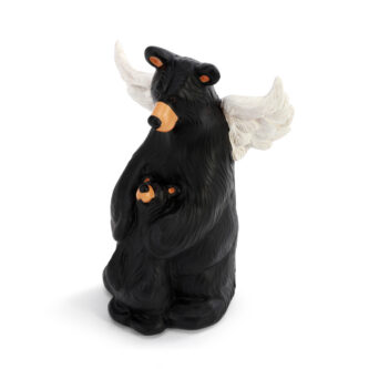 Bear watching over cub with angel wings figurine