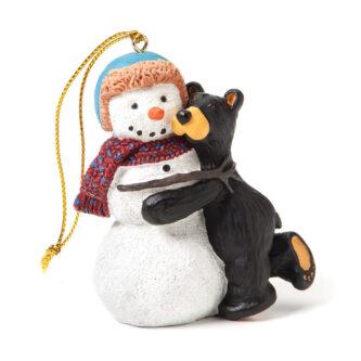 Bearfoot Bear Hugging Snowman Ornament
