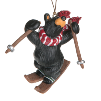 Black Bear Freestyle Skiing Ornament