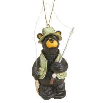 Black Bear Fishing Ornament Bearfoot Bear