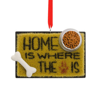 Home is where the dog is welcome mat ornament
