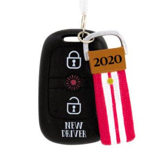 Key Fob New Driver Red Stripe Ornament