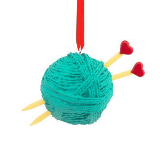 Ball of Yarn with heart knitting needles ornament