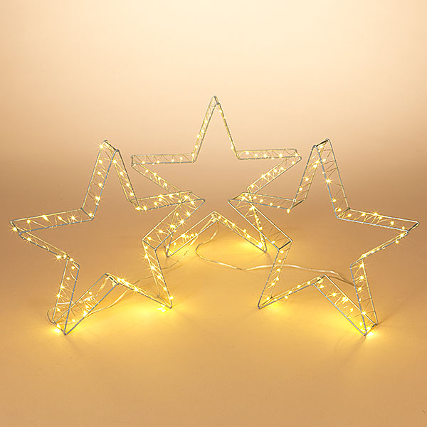 Set of Three Lit Stars for Indoor or Outdoor use