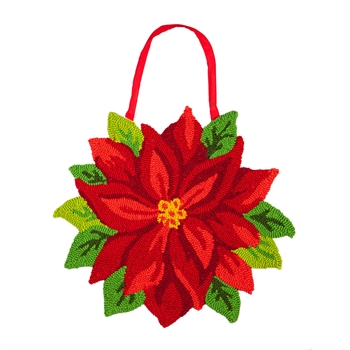 Hooked Door Decor Pointsettia