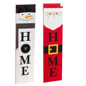 Snowman and Santa Porch leaner with the words HOME