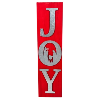 Large Sign with Vertical word JOY with Holy Family in the letter O