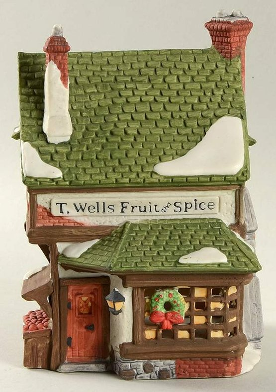 Dept. 56 Retired Dickens' Village Cobbleston Shops T. Wells Fruit and Spice Shop