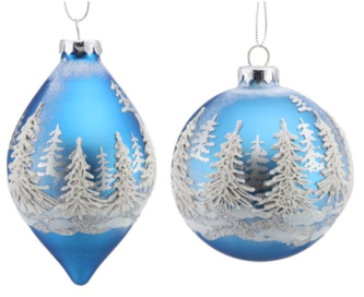 Sky Blue with white mountains glass ornament