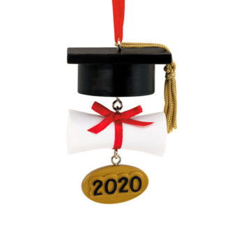 Graduation Cap and Diploma Personalize Date 2020 ornament