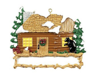 Log Cabin with Bear peeking in Personalized Ornament