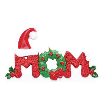 Mom ornament with red glitter and a fun wreath with a santa hat personlized ornament