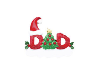 Red Glitter Dad Ornament with a tree for the letter A and a santa hat personlize