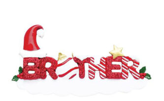 Brother ornament red glitter and candy cane personlized