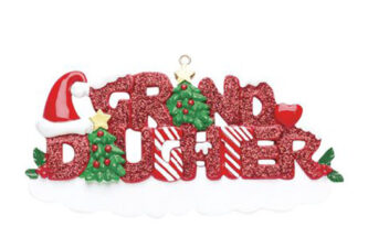 Granddaughter Red Glitter with Candy Cane letters Ornament
