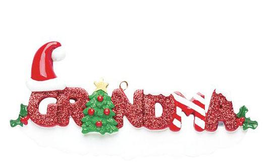 Grandma Ornament with red glitter