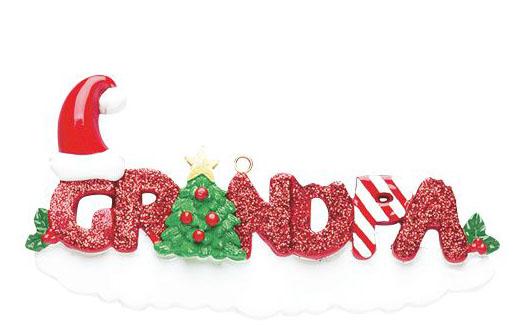 Grandpa Red Glitter Ornament
