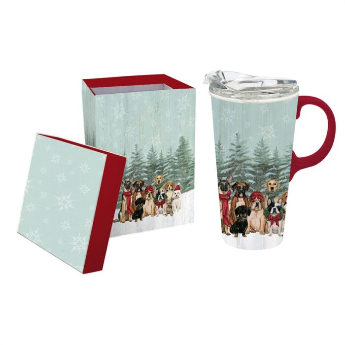 Travel Mug with matching box and dogs dressed up for winter