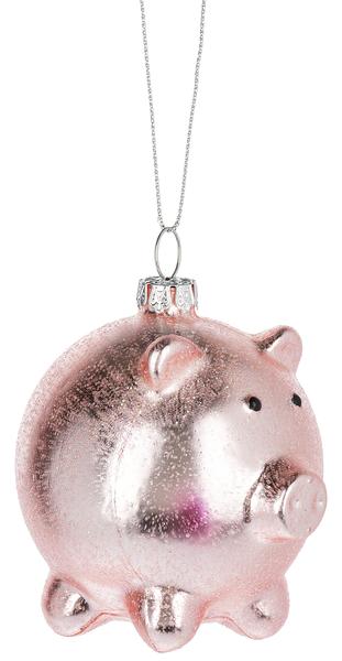 Shiny Pink Piggy Ornament