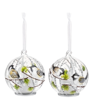 Glass Ball Ornaments with battery candle inside and Chickadee Bird Design